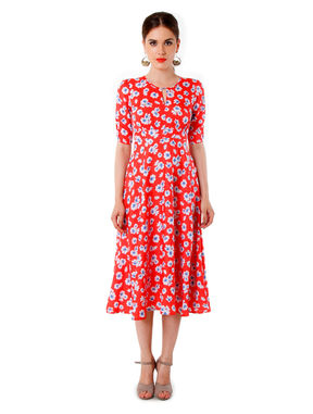 Floral Midi with Cut-out Neck, xl, orange