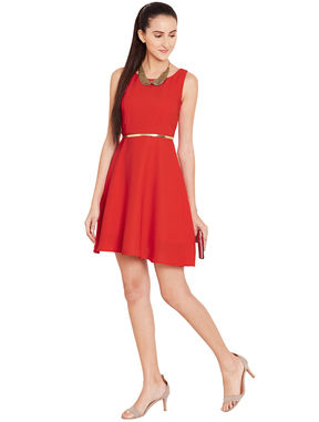 Red Fit & Flare Dress with Waist belt, s, red