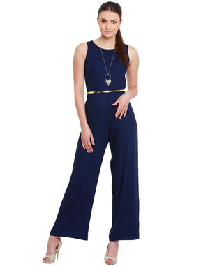 Navy Fitted Jumpsuit with Gold Waist Belt, navy, m