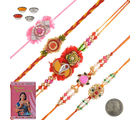 Litte India Handcrafted 5 Pc Fancy Rakhi n Greeting Card Gift 602, multicolor, set of 11