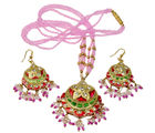 Little India Rajasthani Royal Pink Stylish Meenakari Work Lacquer Necklace Set-DLM6LNS183, pink