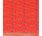 Little India 5 Piece Royal Jaipuri Home Furnishing Silk Double Bed Cover Set-DLM6SLK205, red
