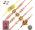 Litte India Handcrafted 5 Pc Fancy Rakhi n Greeting Card Gift 606, multicolor, set of 11