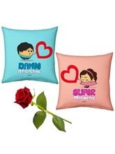 Little India Cute Boy n Girl Hearts Cushions Pair n Rose Gift 101