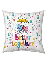 Little India Designer Romantic Print White Filled Cushion 140