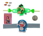 Litte India Smiling Doraemon Unique LED Lighting Kids Rakhi Gift 310, blue, set of 8