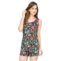 Flower Power Black Tank Top & Shorts Set, s