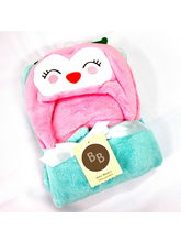 Buddyboo Owl Baby Bath Towels, Blue And Pink