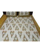 Buyclues Yellow Jaipuri Sanagari Print Double Bed ...