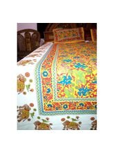 Vaani Beautifull White And Yellow Elephant Bedsheet Printed Double Bedsheet With 2 Pillow Cover (VA00104)