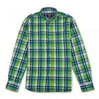 Flying Machine Summer Madras Check Mens Shirt,  green, m