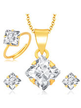 Sukkhi Magnificent Gold and Rhodium Plated CZ Pendant Set - Ring Combo For Women (281CB550)
