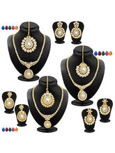 Sukkhi Fabulous Gold Plated AD Set Of 3 Necklace S...