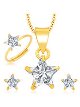 Sukkhi Delightly Gold and Rhodium Plated CZ Pendant Set - Ring Combo For Women (278CB550)