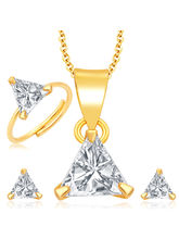 Sukkhi Sleek Gold and Rhodium Plated CZ Pendant Set - Ring Combo For Women (279CB550)