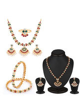 Sukkhi Marvellous Gold and Rhodium plated Navratna Combo (102REDF4300), 2.8