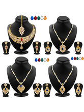 Sukkhi Elegant Gold Plated AD Set of 4 Necklace Set With Set Of 20 Changeable Stone Combo For Women