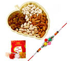 Creativity Centre Rakshabandhan Rose Design Rakhi With Leaf Tray N Dryfruits (CR116)