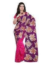 Florence Faux Printed Saree (FL-10964), pink and purple