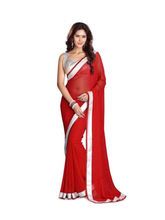 Florence Georgette Embroidered Saree (FL-Silver Red Saree), red