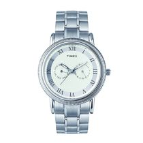 Timex E Class Analog White Dial Men's Watch   TI000J20500