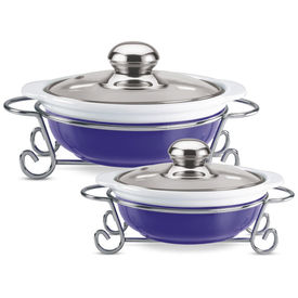 party perfect round casserole set 1000 ml+ 1500 ml - Treo - Ceramic - Table Serve