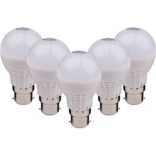 Ecova 3W, 5W, 7W B22 2160L LED Bulb (White, Pack Of 5)