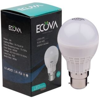 Ecova 3W B22 LED Bulb (White, Pack Of 2)