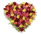 BAF 75 Mix Roses Heart Shape Basket Gift, midnight delivery