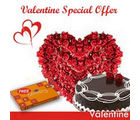 BAF 50 Roses & Heart n Cake-Valentine Eve Gift, midnight delivery