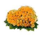 BAF 75 Yellow Roses Heart Shape Arrangement Gift, midnight delivery