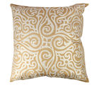The Decor Mart - Single Cushion Cover - Polyester - Embroidered - Gold & Ivory - 24 X 24 inch, gold & ivory