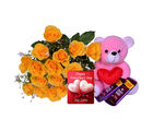 Primo Gifts Yellow Roses with Chocolate Delights & Greeting Card
