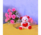 Primo Gifts Teddy with Pink Blooms
