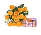 Primo Gifts Yellow Roses with Ferrero Rocher