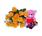 Primo Gifts Yellow Roses with Chocolate Delights