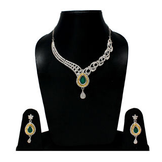 American Diamond Studded Necklace With Changeable Stones