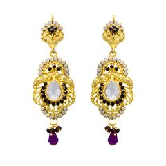 Alluring Pair Of Ethnic Purple Earrings Studded With CZ Stones