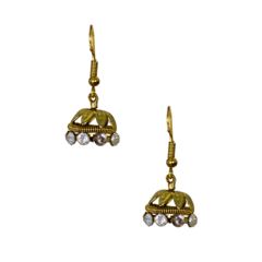 Ethnic Jhumki For Girls In Golden And Studded CZ Stones