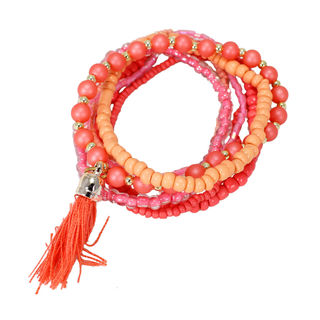 Pack Of 7 Pink Beads Fashion Bracelet For Girls, adjustable