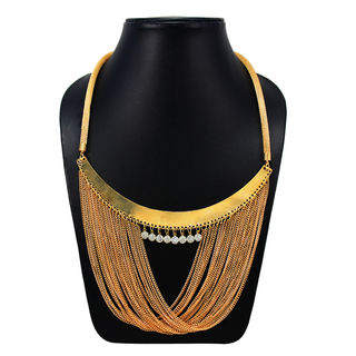 Designer Gold Tone Necklace With Multi-Chain Design