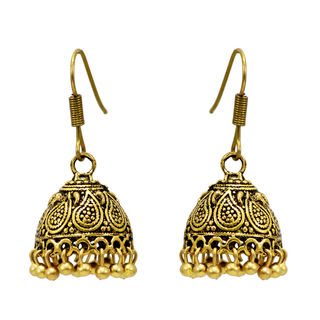 Gold Tone Light Weight Jhumki For Women