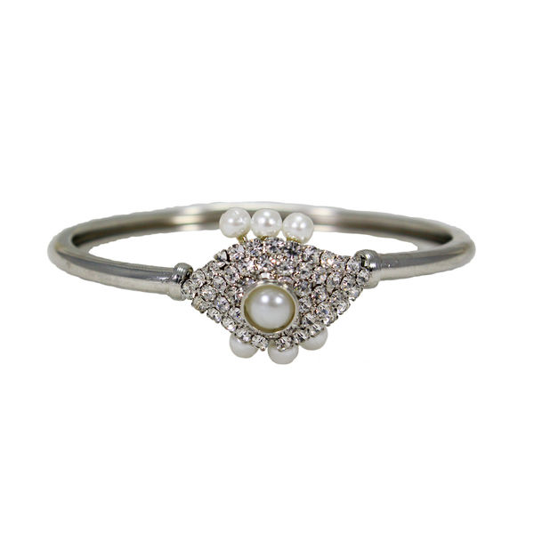 Pearl And CZ Stone Embellished Fashion Bracelet For Women, free size