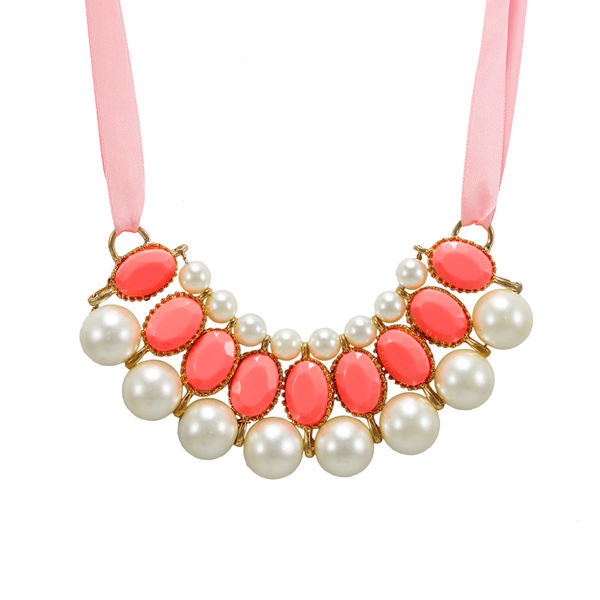 Pink Ribbon Tie Up Necklace Adorned With Stones And Pearl