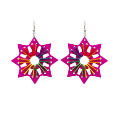 Wooden Star In Pink With Thread Work For Women