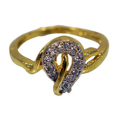 Alluring Gold Tone Ring With Studded White Stones, 11