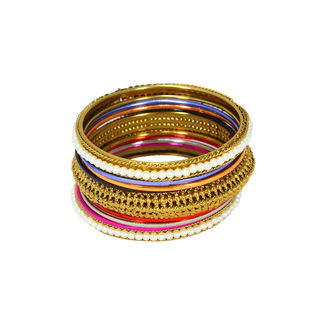 Elegant Multi-Color Set of Bangles In Alloy For Women, 2-4