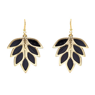 Golden And Black Leaf Shape Earring