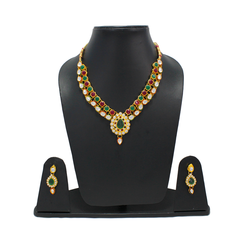 Necklace Set In Red Green Gemstone With Kundan For Women