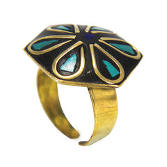 Green And Black Stone Fashion Ring For Women, adjustable